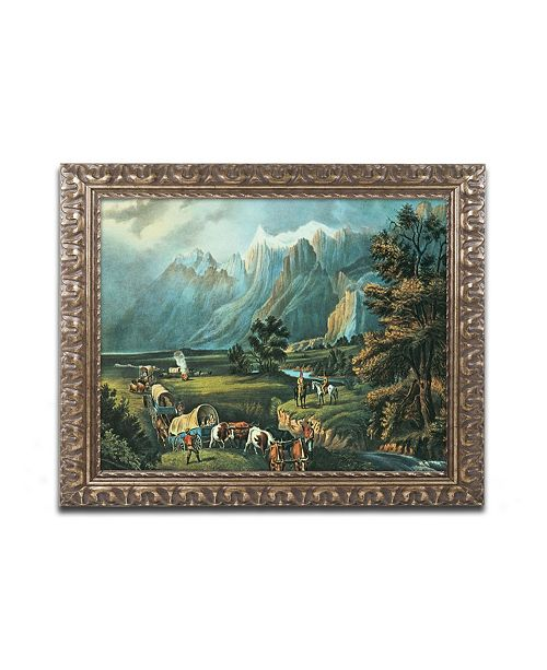 "Trademark Global N.Currier 'Immigrants Crossing the Plains' Ornate Framed Art - 14"" x 11"""