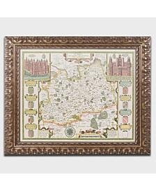 "Jodocus Hondius 'Map of Surrey' Ornate Framed Art - 14"" x 11"""