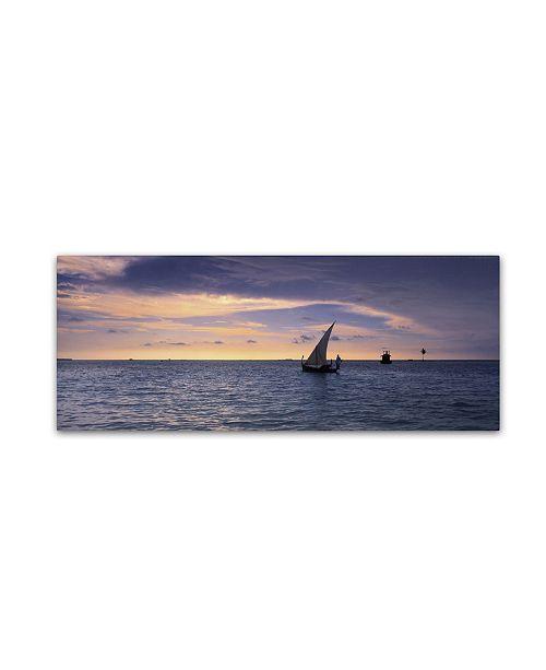 "Trademark Global David Evans 'Dhoni Dream-Maldives' Canvas Art - 6"" x 19"""