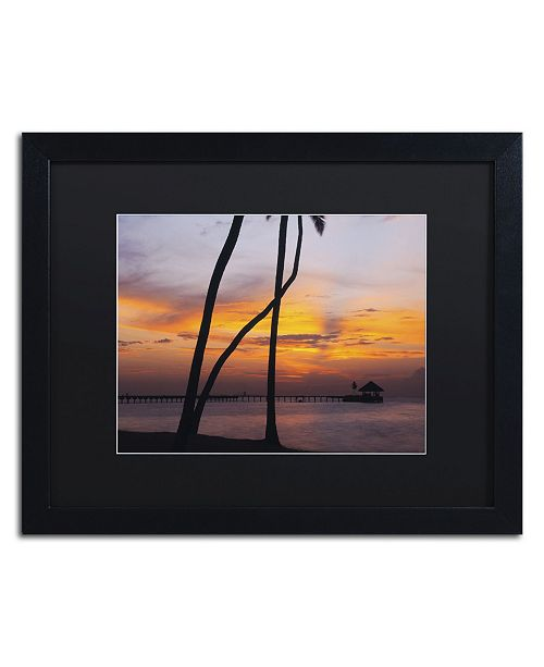 "Trademark Global David Evans 'Last Light-Maldives' Matted Framed Art - 16"" x 20"""