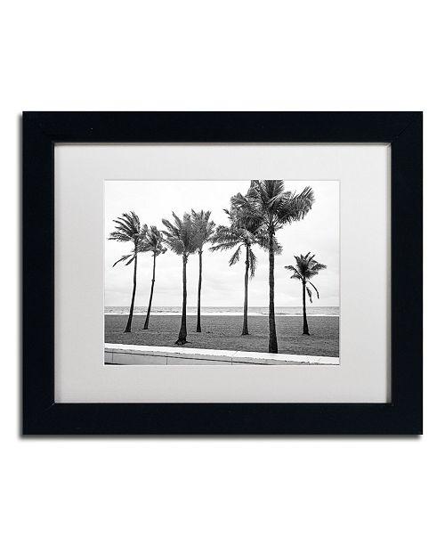 "Trademark Global Preston 'Florida BW Beach Palms' Matted Framed Art - 11"" x 14"""