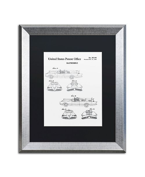 """Trademark Global Claire Doherty 'Batmobile Car Patent 1966 White' Matted Framed Art - 16"""" x 20"""""""