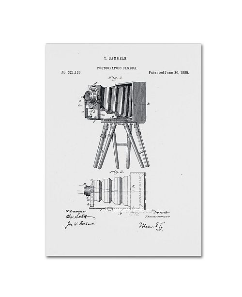 "Trademark Global Claire Doherty 'Photographic Camera Patent 1885 White' Canvas Art - 18"" x 24"""