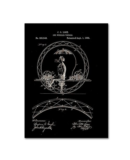 """Trademark Global Claire Doherty 'One Wheeled Vehicle Patent 1885 Black' Canvas Art - 18"""" x 24"""""""