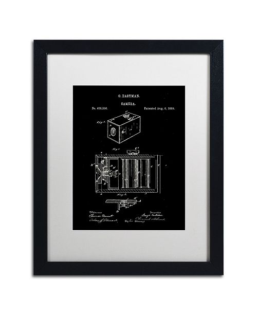 """Trademark Global Claire Doherty 'George Eastman Camera Patent Black' Matted Framed Art - 16"""" x 20"""""""