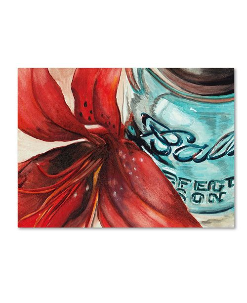 "Trademark Global Jennifer Redstreake 'Ball Jar Red Lily' Canvas Art - 35"" x 47"""