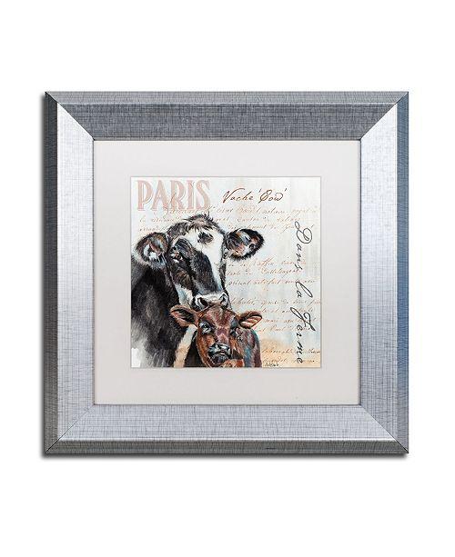 "Trademark Global Jennifer Redstreake 'Dans la Ferme Cow' Matted Framed Art - 11"" x 11"""