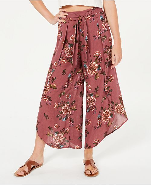 American Rag Juniors' Printed Tulip-Hem Wide-Leg Soft Pants, Created for Macy's