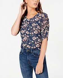 Juniors' Printed Ruched-Sleeved Top, Created for Macy's