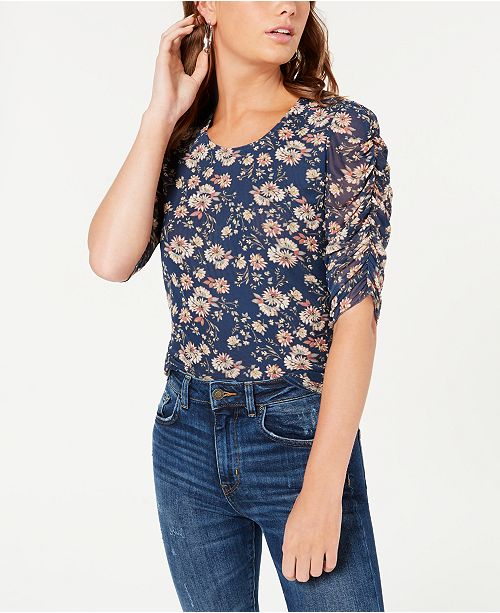 American Rag Juniors' Printed Ruched-Sleeved Top, Created for Macy's