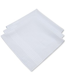 Men's 3-Pc. White Border-Stripe Handkerchief Set, Created for Macy's