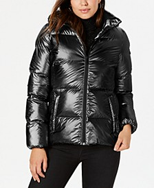 Hooded Metallic Puffer Coat