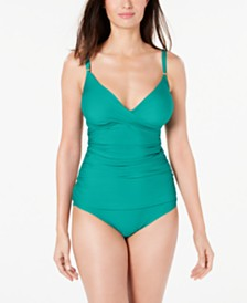 Calvin Klein Ruched Tankini Top & Side-Shirred Hipster Bikini Bottoms
