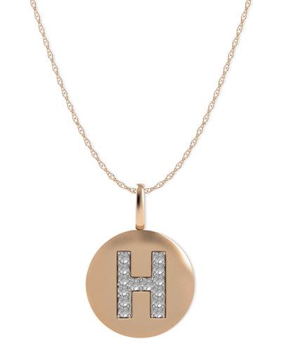 14k Rose Gold Necklace, Diamond Accent Letter H Disk Pendant