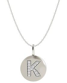 14k White Gold Necklace, Diamond Accent Letter K Disk Pendant