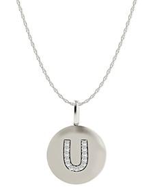 14k White Gold Necklace, Diamond Accent Letter U Disk Pendant