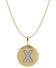 14k Gold Necklace, Diamond Accent Letter X Disk Pendant