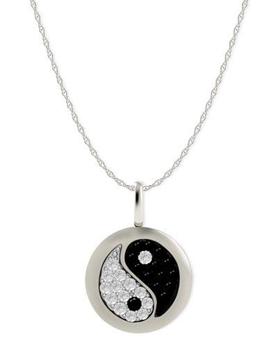 Diamond yin yang disk pendant necklace in 14k white gold 110 ct diamond yin yang disk pendant necklace in 14k white gold 110 ct aloadofball Images