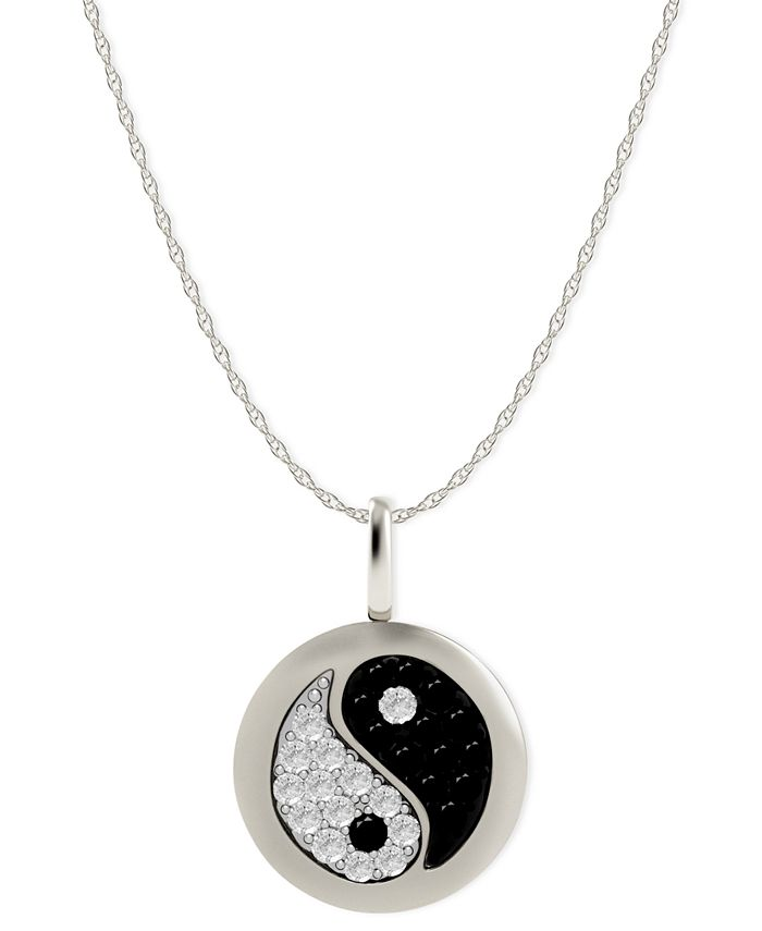 Macy's - Diamond Yin Yang Disk Pendant Necklace in 14k White Gold (1/10 ct. t.w.)