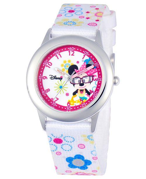 Disney Watch, Kid's Minnie Mouse Time Teacher Floral Printed Nylon Strap 30mm W000364