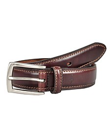 Leather Dress Men's Belt with Tonal Stitching