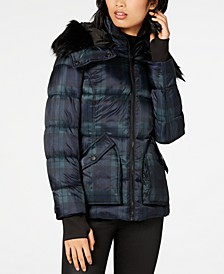 Plaid Faux-Fur Hooded Coat