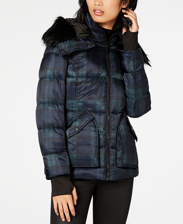 French Connection Plaid Faux-Fur Hooded Coat
