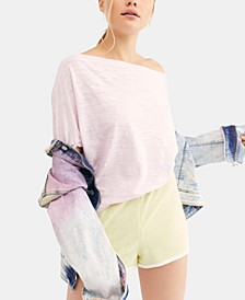 Off-The-Shoulder Burnout T-Shirt
