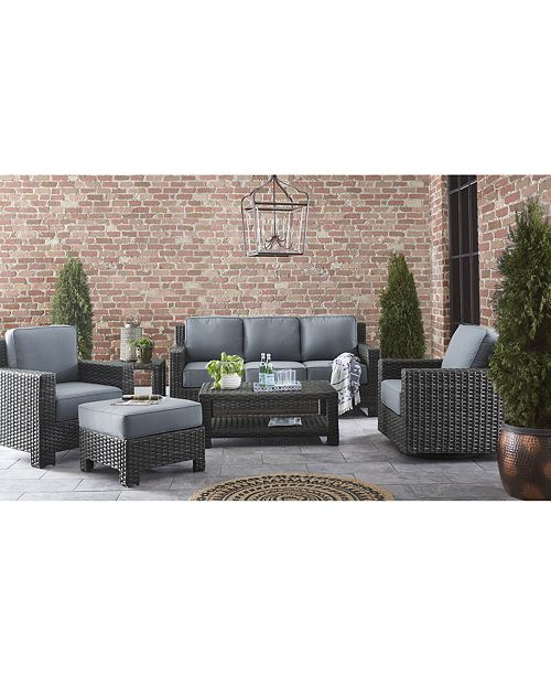 Viewport Wicker Outdoor Sofa with Sunbrella® Cushions, Created for Macy\'s