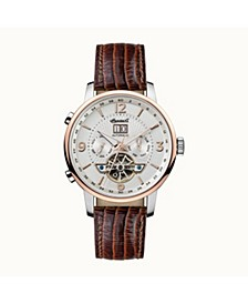 Grafton Automatic with Stainless Steel Case, Silver Dial and Brown Lizard Embossed Leather Strap