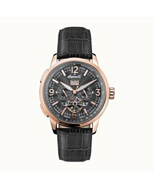 Regent Automatic Chronograph with Rose Gold IP Stainless Steel Case, Black Dial and Brown Croco Embossed Leather Strap