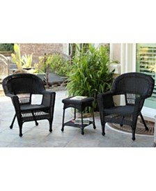 Jeco Wicker Chair and End Table Set without Cushion