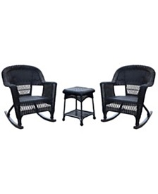 Jeco 3 Piece Rocker Wicker Chair Set without Cushion - OVER-MAX