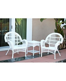 Jeco 3 Piece Santa Maria Wicker Chair Set without Cushion