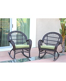 Wicker Rocker Chair with Cushion - Set of 4