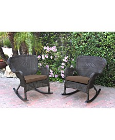 Jeco Windsor Resin Wicker Rocker Chair with Cushion - Set of 2