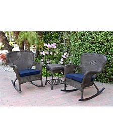 Jeco Windsor Wicker Rocker Chair and End Table Set with Chair Cushion