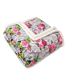 Betsey Johnson Camouflage Floral Blanket, Full/Queen