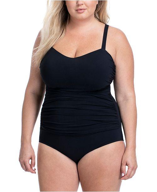 Plus Size Solid Tutti Frutti Wide Strap One-Piece Swimsuit