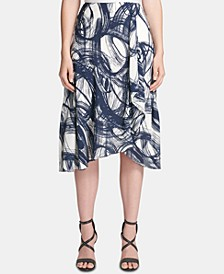 Etched-Print Ruffled Midi Skirt
