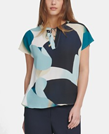 DKNY Printed Tie-Neck Top