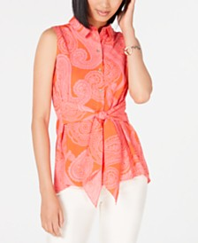 Tommy Hilfiger Tie-Front Paisley Blouse, Created for Macy's