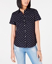 Cotton Dot-Print Camp Shirt, Created for Macy's