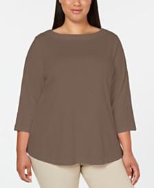 Karen Scott Cotton Plus Size Lace-Trim Top, Created for Macy's