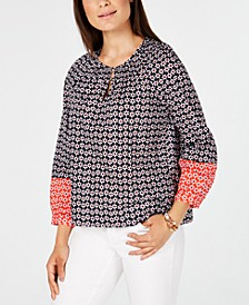 Cotton Smocked Floral-Print Top, Created for Macy's