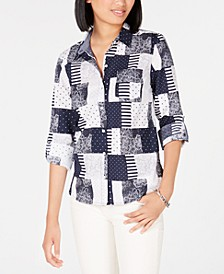 Cotton Patchwork-Print Blouse, Created for Macy's