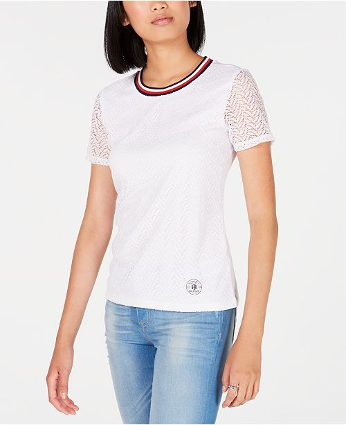 Tommy Hilfiger Lace Striped Trim T Shirt, Created for Macy's
