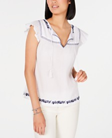 Tommy Hilfiger Embroidered Cotton Peasant Blouse, Created for Macy's