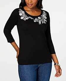 Petite Embroidered 3/4-Sleeve Top, Created for Macy's