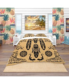 Designart 'Ethnic Decorative Mask' African Duvet Cover Set - Twin